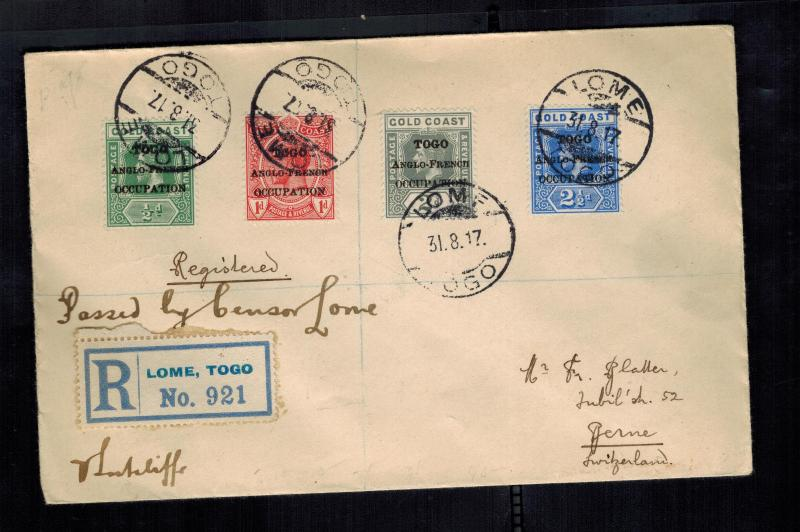 1917 Lome Togo Anglo French Occupation Cover to Bern Switzerland