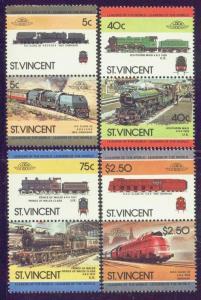 St. Vincent MNH 787-90 Pairs Locomotives 1984