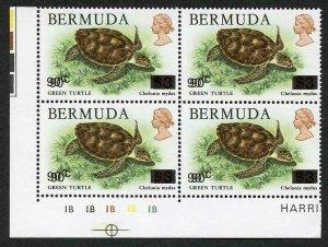 Bahamas SG534a 1986 90c on 3 dollars Green turtle error SURCHARGE DOUBLE U/M