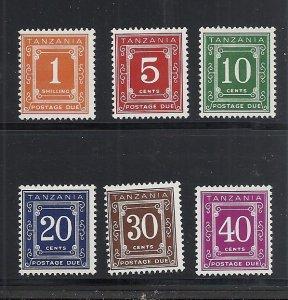 Tanzania #J1-6 comp mnh cv $5.00