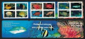 Fr. Polynesia Fish 12v Booklet SG#1127-1138 MI#1082-1093 CV£60+