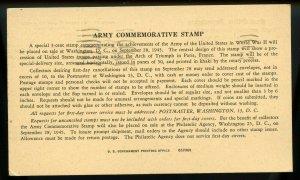 U.S. Scott 934 Army Commemorative Post Office Department Announcement Card