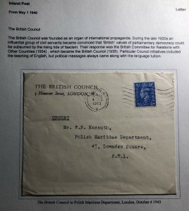 1943 London England British Council Cover To Polish Maritime Department