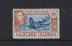 FALKLAND IS. SCOTT #94 1936-46 GEORGE VI 5 SHILLING- MINT LIGHT  HINGED