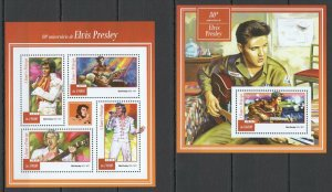 ST1460 2015 S. TOME & PRINCIPE MUSIC 80TH ANNIVERSARY ELVIS PRESLEY KB+BL MNH