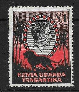 KENYA, UGANDA & TANGANYIKA SG150ab 1944 £1 BLACK & RED p14 ORD PAPER USED