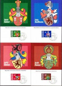 Liechtenstein 1982 Arms Coats 4 Maxi Cards FDC