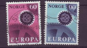 J18392 JLstamps 1967 norway set used #504-5 europa