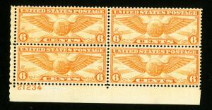 US Stamps # C19 XF Plate Block of 4 OG NH