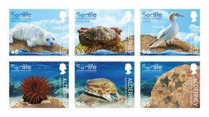 Stamps 2020. Alderney. - Marine life in the Ramsar region. Set of 6 stamps.