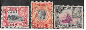 Kenya-Uganda-Tanganyika  #49,50 & 52 George V (U) CV $1.60