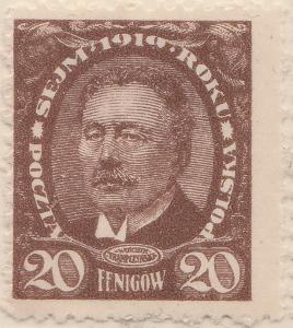 POLEN - 1919 - Mi.125 20F brown (21x25mm) - THICK PAPER - mint*