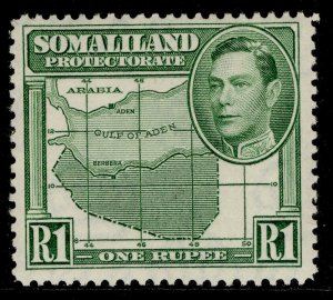 SOMALILAND PROTECTORATE GVI SG101, 1r green, LH MINT. Cat £16.