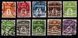 Denmark 1913-30 Definitives, solid background perf 14x14½, Part Set [Used]
