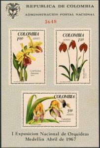 Colombia C491a sheet,MNH.Michel Bl.27. Orchids 1967,Bee.