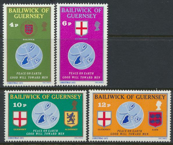 Guernsey  SG 131-134  SC# 127-130 MLH Christmas 1975 see details