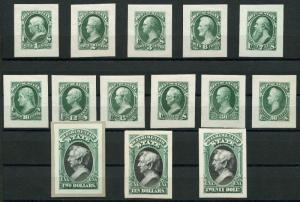 #O57P2 // #O71P2 SMALL DIE PROOFS ON WOVE PAPER XF SET OF 14 CV $1,475 WLM3917