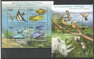 TG1004 2011 TOGO FAUNA FISHES BIRDS ECOSYSTEMS AFRICAN VICTORIA BL+KB MNH