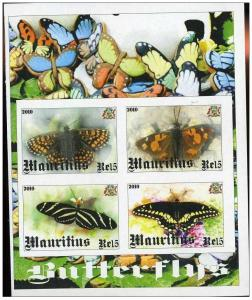 MAURITIUS SHEET IMPERF CINDERELLA BUTTERFLIES INSECTS