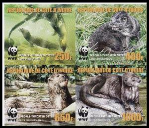 Ivory Coast WWF Speckle-throated Otter imperforated 4v with error MI#1349-1352B