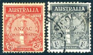 AUSTRALIA-1935 Anzac Set Sg 154-155 GOOD USED V16064