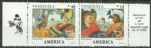 AB1351 1991 VENEZUELA ART SHIPS & BOATS EXPLORERS AMERICA UPAEP COLUMBUS SET FIX