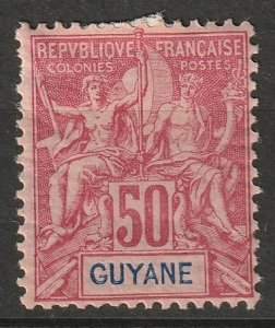 French Guiana 1892 Sc 46 MH* some disturbed gum