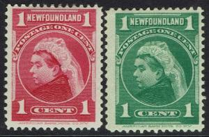 NEWFOUNDLAND 1897 QV 1C RED AND 1C GREEN