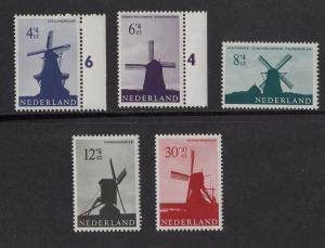 Netherlands  #B373-B377 1963  MNH  windmills
