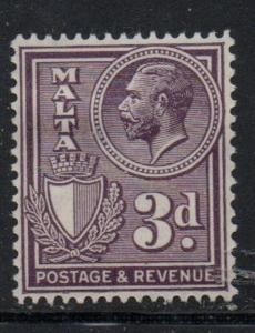 Malta Sc 173 1930 3d dark violet George V stamp mint