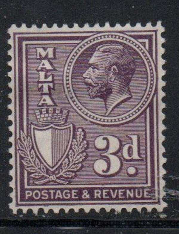 Malta Sc 173 1930 3d dark violet George V stamp mint