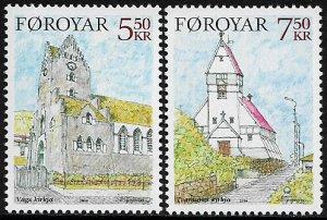 Faroe Is #449-50 MNH Set - Churches