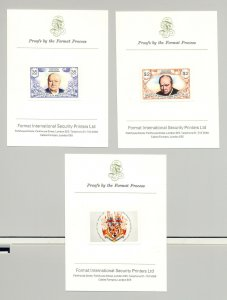 Grenada Grenadines #29-30, 1974 Churchill Imperf Proofs Mounted on Cards