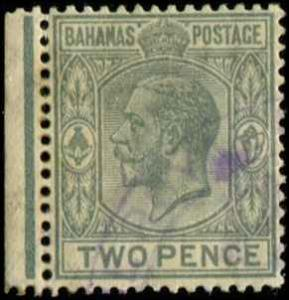 Bahamas SC# 74 SG# 118 George V wmk 4  perf 14 2d USED Toned gum