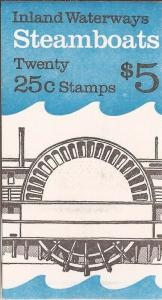 US Stamp - 1989 Steamboats - Booklet Pane of 20 Stamps - Scott #BK166