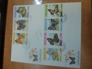 Laos Two Butterfly Covers, Cacheted envelope and cancels (32bee)