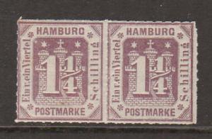 Hamburg Mi 20b MLH. 1866 1¼s imperf horiz. pair, F-VF