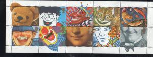 Great Britain  Sc  1304a 1990 20p Smiles stamp booklet pane mint NH
