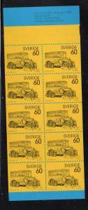 Sweden Sc 990a 1973 Mail Coach stamp bklt of 10 mint NH