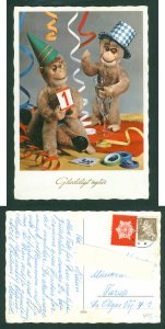 Denmark. New Year Card 1966. Morud,Seal+40 Ore. Ape,Monkeys Celebrating.Ad:Farup