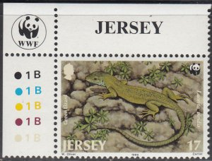Jersey 1989 MNH Sc #509 17p Green Lizard WWF Corner margin copy