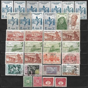 COLLECTION LOT OF 33 FRENCH WEST AFRICA STAMPS 1947+ CLEARANCE