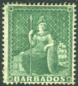 BARBADOS-1861 ½d Deep Green.  An average mounted mint example Sg 17