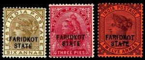 1887-1900 India Faridkot  #12-14 Wmk 38 & 39 - OGLH - VF - CV$72.75  (ESP#4404)