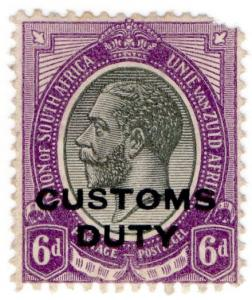 (I.B) South Africa Revenue : Customs Duty 6d (1913)
