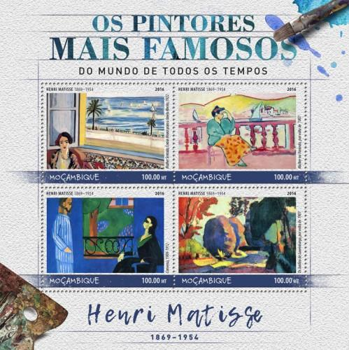 MOZAMBIQUE - 2016 - Painters. Henri Matisse - Perf 4v Sheet - MNH