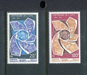 Afars and Issas 374-375, MNH, UPU-100, 1974. Letters around UPU emblem. x21412