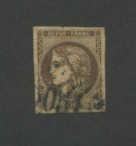 1870 France Postage Stamp #46 Used Very Fine Partial Station Postal Cancel