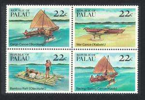 Palau Traditional Canoes and Rafts 4v Block of 4 SG#73-76