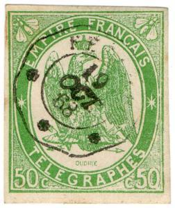 (I.B-CK) France Telegraphs : 50c Yellow-Green (1868)